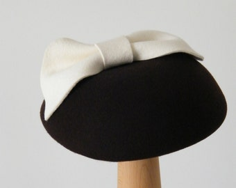 winter cocktail hat / brown pillbox / felt baret for women / brown winter hat accessory made in Israel