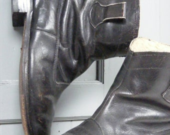 True vintage airman's boots WW2 size UK 9 black leather pull on sheepskin lined