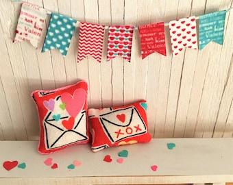 Miniature Valentine Pillow Set And Matching Valentine Bunting/Banner