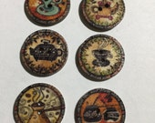 Novelty Wooden Coffee Buttons, Embellishments, Sewing, Scrapbooking, Journaling, Arts And Crafts
