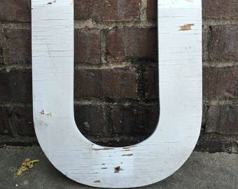 """U - a 15"""" tall wooden letter"""