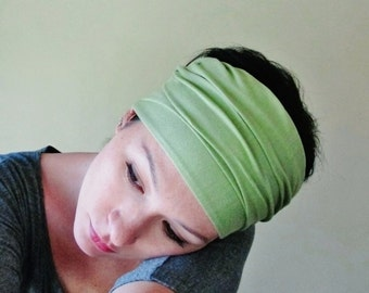 PEAR GREEN Hair Wrap - Extra Wide Yoga Headband - Wasabi Green Head Scarf - Womens Hair Accessories - Pale Green Headband - Bohemian Wrap