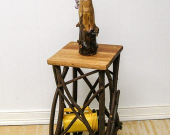 WOOD PLANT STAND w/ Reclaimed Oak Top / Small Side Table / Occassional Table / Folk Art / Primitive / Reclaimed Lumber / Twigs / Tramp Art