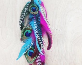 Extra Long Peacock Single Chain Feather Earring or Hair Clip YOU CHOOSE-14 inches long-Made with peacock feathers and rooster hair feathers