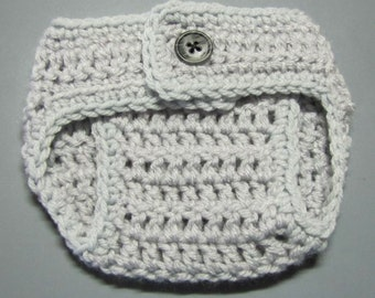 newborn size diaper cover in gray (matches sleepy gray owl hat)