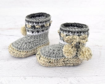 PDF PATTERN - Nordic Baby Boots - baby shoes crochet booties pattern Nordic boots instant download