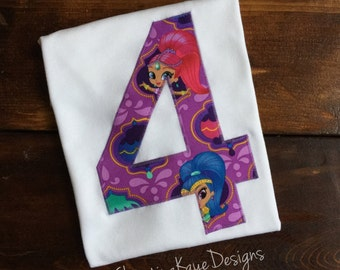 Custom name and number Shimmer and Shine birthday shirt
