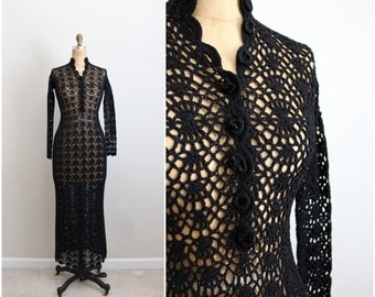 70s Floral Lace Boho Black Crochet Dress /Festival Maxi Dress/ Bohemian Dress / Size S/M