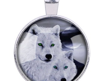 "2pcs-1.5"" Wolf glass dome round cab pendant-antique silver tone"