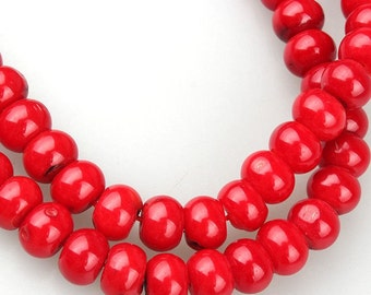 10pcs-Red Jasper gemstone rondelle beads 12mmX7mm