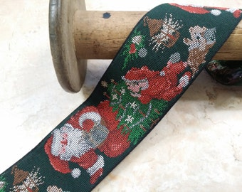 """SALE 2.125"""" Vintage Needlepoint Santa Christmas Ribbon Trim Forest Green with red, green, white etc...and metallic gold accents"""