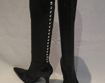 SPRING CLEANING SALE Gianni Versace Black Pointed Toe High Boot with Silver Studs Size 38