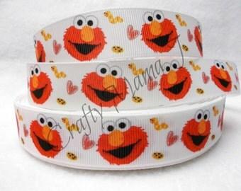 "Elmo from Sesame Street on White 7/8"" Grosgrain Ribbon. Choose 5/10 yards. More ribbons at https://www.etsy.com/shop/CraftyMamaRibbon"