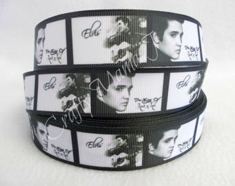 "Elvis Presley The King on Black and White 1"" Grosgrain Ribbon by the yard. Choose 3/5/10 yards. Rock and Roll Music"