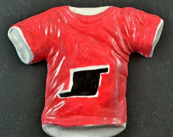 t-Shirt Magnet:  Red with Black and White Accents