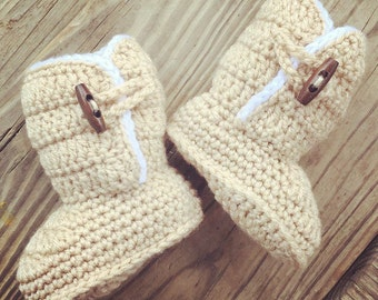 Crochet Baby Girl TAN and White UGGs Inspired Warm Snuggle BOOTS with TOGGLE Buttons  ~ Sizes: 0-12 Mos ~ Super Cute