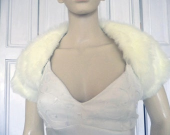 Luxious White Fur Cap sleeved bolero/shrug/jacket. Top quality fur!