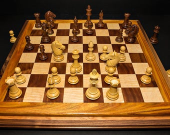Deluxe Two-Tiered Handcrafted Exotic Wood Chess Set W/One Of A Kind Triple Bordered Chess Board Chess Set Birthday Gift Christmas Gift Idea