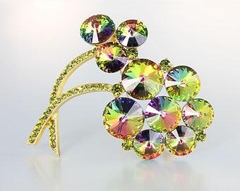 Weiss Brooch, Rivoli crystal Flower Brooch, Peridot Tourmaline vintage 1960s jewelry