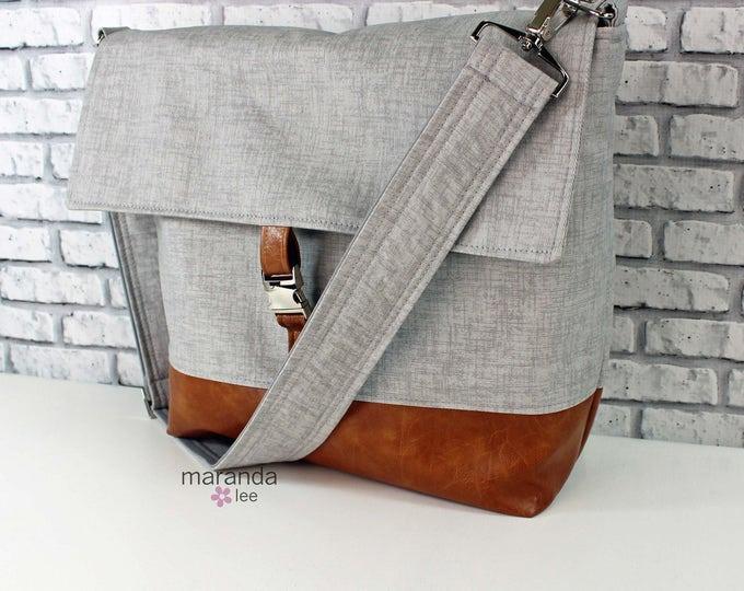 Lulu Large Flap Messenger Satchel  - Grey Twill and PU Leather Travel Business Nappy Bag Stroller Attachment