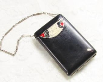 Vintage Art Deco Black Powder Compact Lipstick Dance Purse Wristlet 1930s