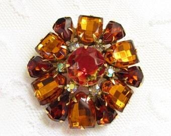 Vintage Kramer Red Givre Yellow Amber Rhinestone Flower Brooch