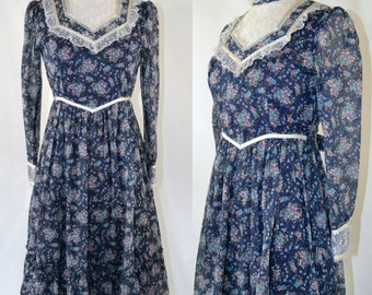 1980s Victorian Revival Blue Floral Print Dress, Tea Length Dress
