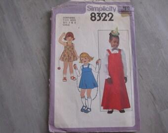 Vintage 1977 Child Dress or Jumper Pattern - Simplicity 8322- Size 3 and 4 - Toddler