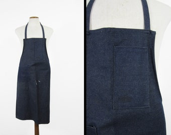 Vintage Denim Apron Dark Indigo Shop Bib With Tool Pockets
