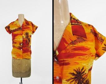 Vintage 70s Hawaiian Shirt Orange Sunset Button Up Polyester - Size XS