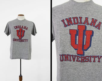 Vintage Indiana University T-shirt Tri Blend Threadbare Heather Grey Paper Thin - Size Large