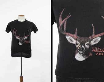 Vintage Whitetail Deer T-shirt Soft and Thin Black Hunting Made in USA - Small