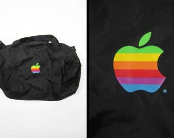 Vintage Apple Computers Duffle Bag NAUGSAW 92 Black Nylon Shoulder Bag