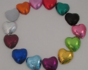 Foil Wrapped Dark Chocolate Hearts, Foil Milk Chocolate Heart Favors, Choice of Foil Color, Bulk, Edible Wedding Favors
