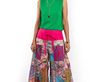 Boho pants  - Comfy Wide leg patchwork pants : Boho Patchwork Collection