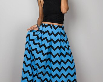 Chevron skirt, maxi skirt, pleated skirt, long blue skirt, blue skirt, women's skirt, floor length skirt: Feel Good Collection No.3
