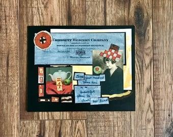 Clear Her Mind, Collage Art, Original Collage, Original Art, Ephemera, Vintage Photo, Vintage Paper Art