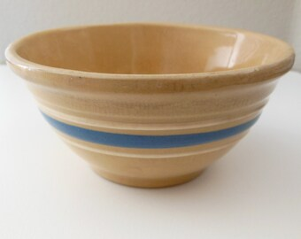 McCoy Banded Mixing Bowl Small Yellow Ware Crock Blue White Band Striped Bowl McCoy Yelloware USA Crock Mixing Bowl Pudding Bowl