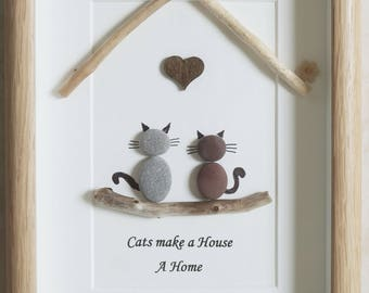 Pebble Art framed Picture- Cats make a House a Home
