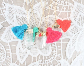Raw Crystal Point Necklace with Bright Cotton Tassel, Crystal Necklace, Druzy Necklace, Boho Necklace