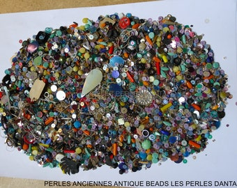 antique seed beads/ sequins ,press glass/350grs