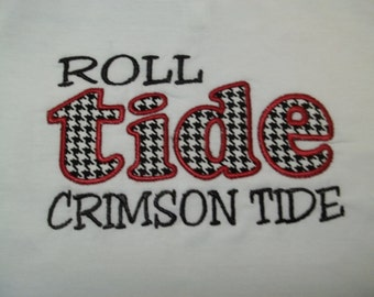 Roll Tide Short Sleeve Appliqued Tshirt - Infant and Toddler Size Tshirt - 6 months to 5/6