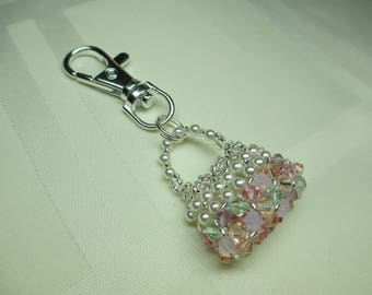 Crystal Purse Charm or Zipper Pull in Pastels