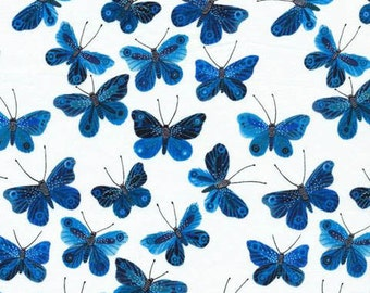Moody Blues - Butterflies White VOILE by Geninne from Cloud9 Fabrics