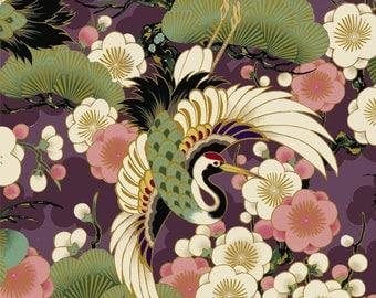 Celebration - Tsuru Crane Bird Plum Purple with Metallic Accents from Quilt Gate