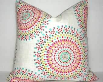 Pink Yellow Aqua Blue Green Red Medallion Pillow Cover Living Room Decor Decorate with Pillows Size 18x18