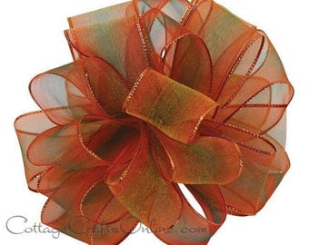 "Wired Ribbon, 1 1/2""  Copper Rusty Orange, Green Ombre Sheer - FIFTY YARD ROLL - ""Spice World"" Fall, Thanksgiving, Wire Edged Ribbon"