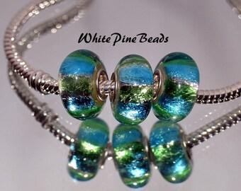 Aqua and Gold Foil Handmade MURANO GLASS BEADS fits European  Charm Bracelets WhitePineBeads