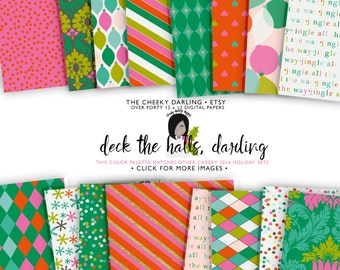 Over 40 Cute Glitter and Modern Christmas Holiday Digital Papers Kate Spade Inspired Modern ...