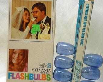 1960s M2B Sylvania Blue Dot FLASHBULBS - Original Box - Only 6 Blue Bulbs, Mid Century Photography - 1960s Photography, Photography Display
